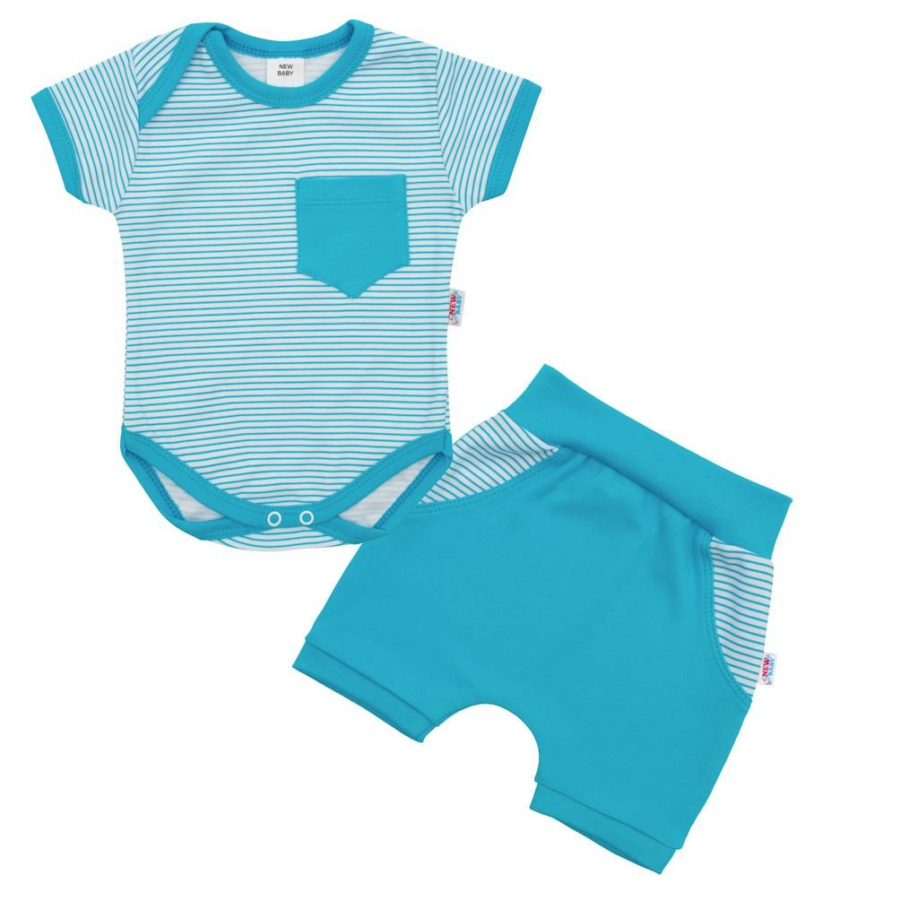 2-dielna letná bavlnená súprava New Baby Perfect Summer tyrkysová