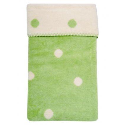 detská deka Womar zelená s bodkami