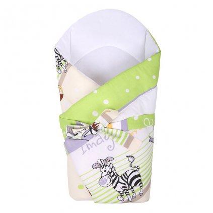 detská zavinovačka new baby kokosová zelená so zvieratkami
