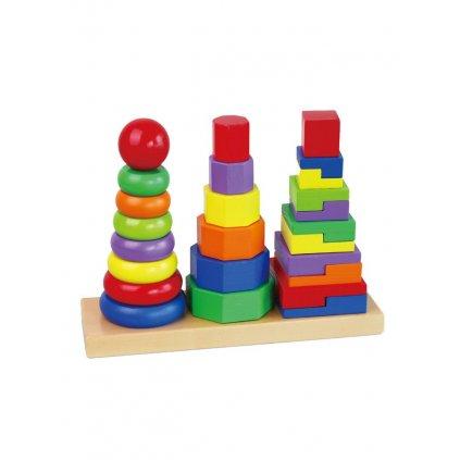 Drevene farebne pyramidy pre deti Viga