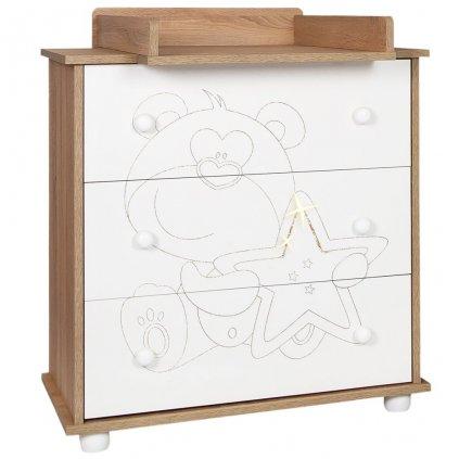 Detská komoda New Baby Medvedík s hviezdičkou dub