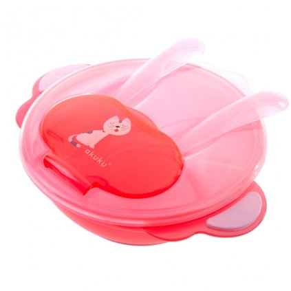 Detská miska s lyžičkou a vidličkou Akuku mačka červená