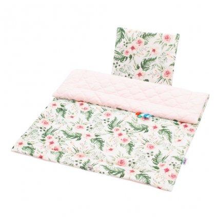 Obojstranný Set z Velvet do kočíka New Baby kvety ružová