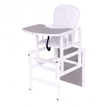 drevena detska stolicka so stolom z borovicoveho dreva biela