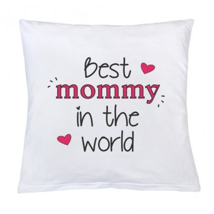 Vankúš s potlačou New Baby Best mommy 40x40 cm