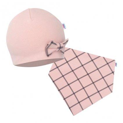 Dojčenská čiapočka s šatkou na krk New Baby Missy ružová