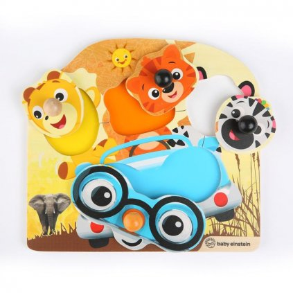 BABY EINSTEIN Hračka drevená puzzle Friendy Safari Faces HAPE 12m+