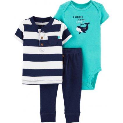 CARTER'S Set 3dielny body, tričko krátkyrukáv, nohavice Whale chlapec LBB