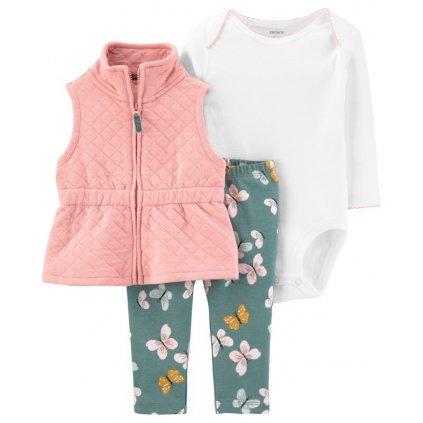 CARTER'S Set 3dielny body, vesta, nohavice Pink dievča