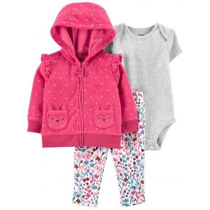 CARTER'S Set 3dielny body krátky rukáv, mikina, nohavice dlhé Pink Dot dievča