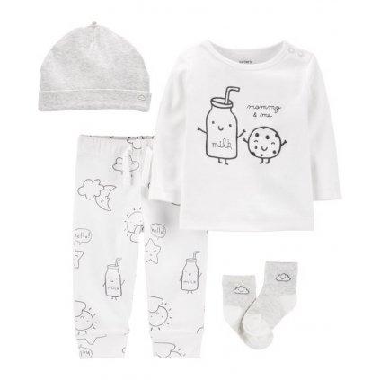 CARTER'S Set 4dielny tričko, nohavice, čiapka, ponožky Milk neutrál