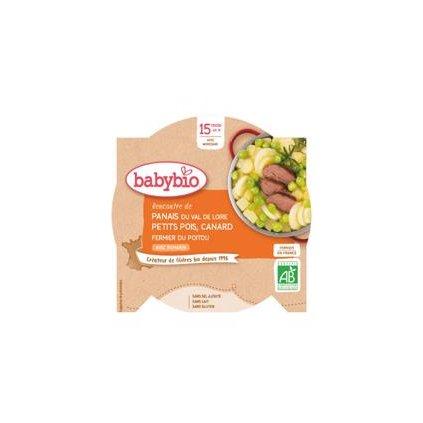 BABYBIO Paštrnák s hráškom a farmárskou kačicou (260 g) - mäsovo-zeleninový príkrm