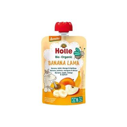HOLLE Banana Lama Bio ovocné pyré banán, jablko, mango, marhuľa, 100 g (6 m+)