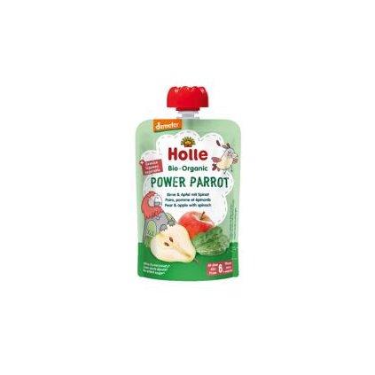 HOLLE Power Parrot Bio pyré hruška jablko špenát 100 g (6+)