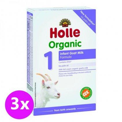 3 x HOLLE Bio Detská mliečna výživa na bázi kozieho mlieka 1 počiatočná