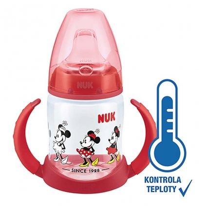 Dojčenská fľaša na učenie NUK Disney Mickey s kontrolou teploty 150 ml červená