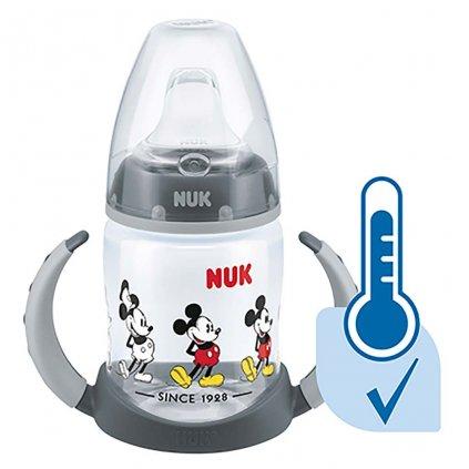 Dojčenská fľaša na učenie NUK Disney Mickey s kontrolou teploty 150 ml sivá