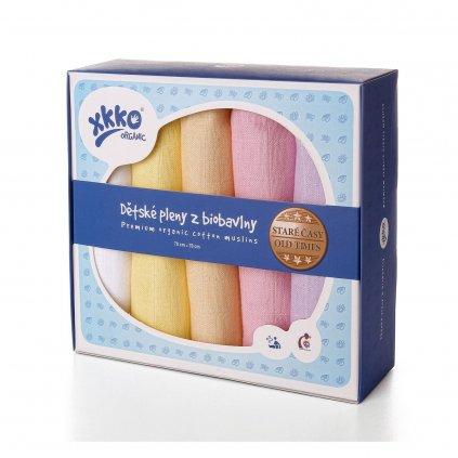 KIKKO Plienky detské z biobavlny Staré časy 70x70 (5 ks) – pastels, pre dievčatá