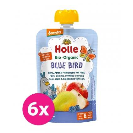 6x HOLLE Blue Bird Bio pyré hruška jablko čučoriedky vločky 100 g (6+)