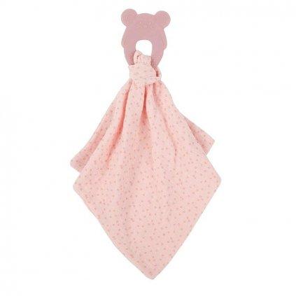 NATTOU Hryzačka silikónová bez BPA s bavlnenou dečkou 28 x 28 cm pink