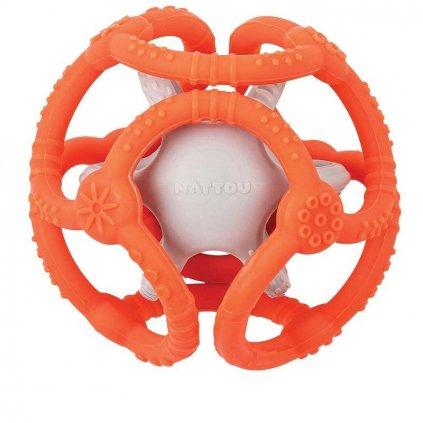 NATTOU Hryzačka silikónová lopta 2v1 bez BPA 10 cm oranžovo-šedá