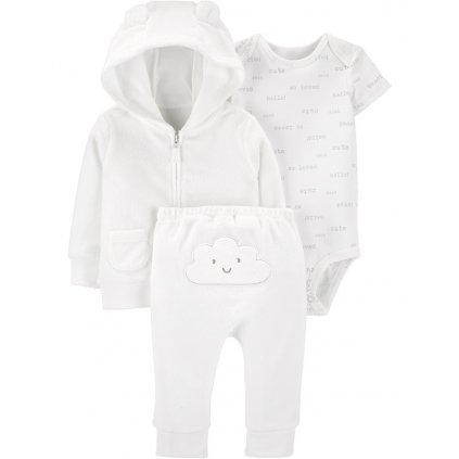 CARTER'S Set 3dielny body krátky rukáv, mikina, nohavice Cloud White neutrál LBB