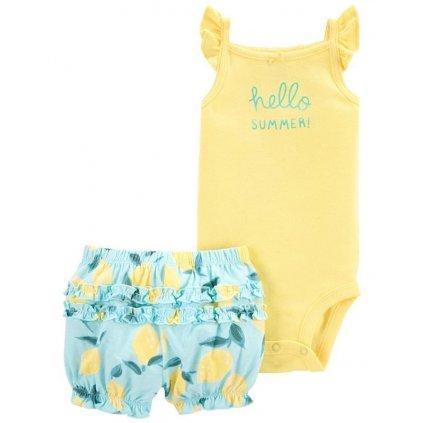 CARTER'S Set 2dielny body tielko, nohavice kr. Yellow Lemon dievča