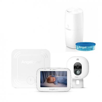 ANGELCARE AC527 Monitor pohybu dychu a el. video pestúnka + kôš Classic + 1 kazeta