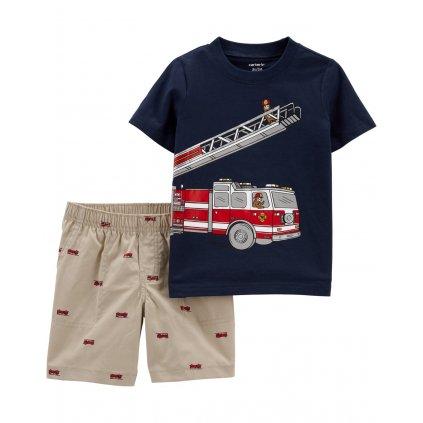 CARTER'S Set 2dielny tričko kr. rukáv, nohavice kr. Firetruck chlapec