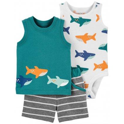 CARTER'S Set 3dielny body tielko, tričko bez rukávov, nohavice kr. Green Shark chlapec