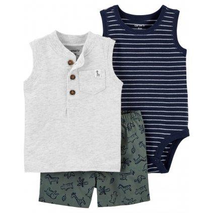 CARTER'S Set 3dielny body tielko, tričko bez rukávov, nohavice kr. Grey Henley chlapec