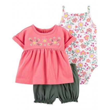 CARTER'S Set 3dielny body tielko, tunika, nohavice kr. Pink dievča 12 m, veľ. 80