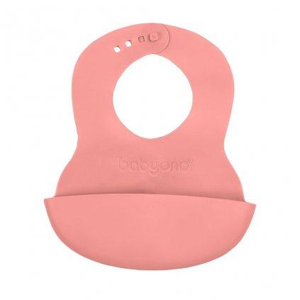 Nastaviteľný plastový podbradník s vreckom Baby Ono ružový