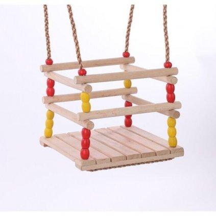DVĚ DĚTI Detská drevená hojdačka