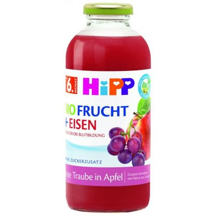 HiPP BIO Jablko a červené hrozno + železo od 6. mesiaca, 500 ml