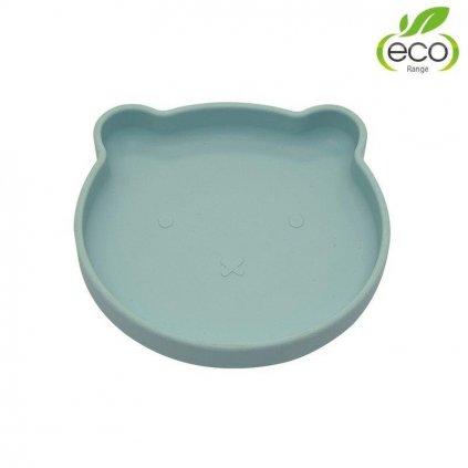 BO JUNGLE Silikónový tanier s prísavkou Bear Pastel Blue