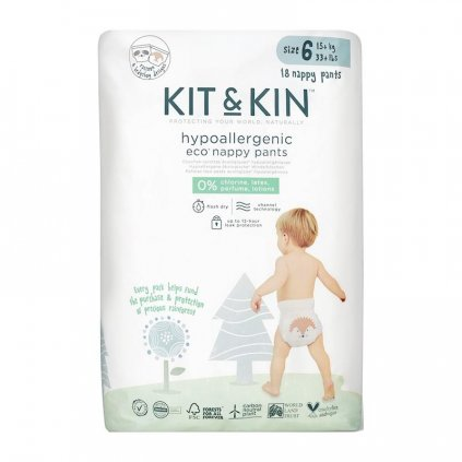 KIT & KIN ekologickej plienkové nohavičky (pull-ups), veľkosť 6 (18 ks), 15 kg +