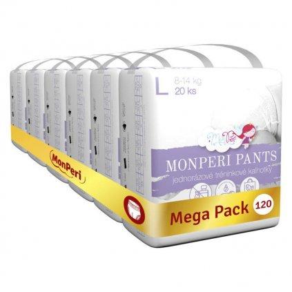 MONPERI Plienkové nohavičky Pants L 8-14 kg Mega Pack