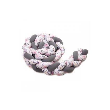 T-TOMI Pletený mantinel 180cm, anthracite + roses