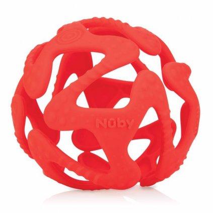 NUBY Hryzačka silikónová lopta - červená 3 m+