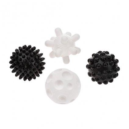 Sada senzorickych hraciek Akuku baloniky 4ks 6 cm ciernobiele