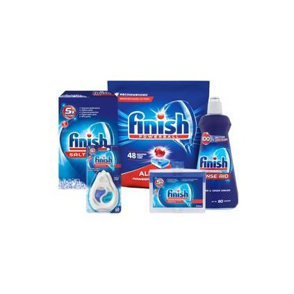 FINISH Starter pack pre umývačky riadu - tablety 48 ks, soľ, leštidlo, osviežovač, čistič