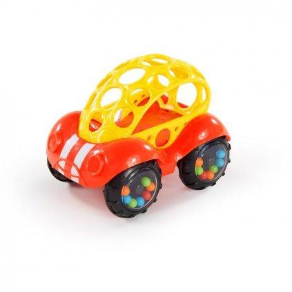 OBALL Autíčko Rattle & Roll Oball™ červeno / žlté 3m+