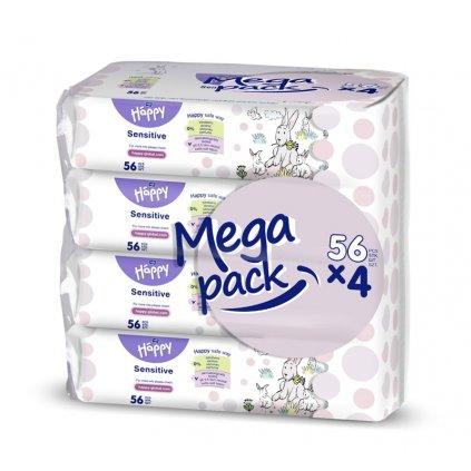 4x BELLA HAPPY BABY Vlhčené utierky sensitive s aloe vera 56 ks, MEGA PACK
