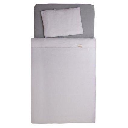 BABYMATEX Bielizeň posteľná Muslin svetlo šedá 3-dielna