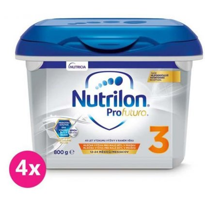 4x NUTRILON 3 Profutura batoľacie mlieko 800 g, 12+