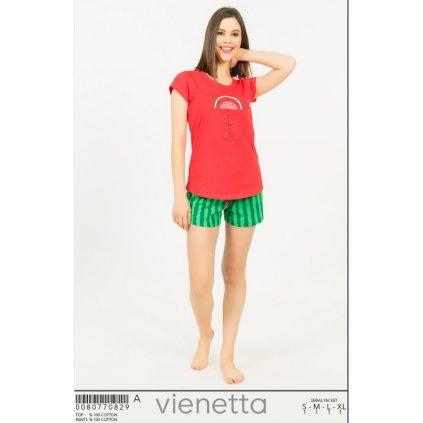 Vienetta dámske pyžamo melón krátke