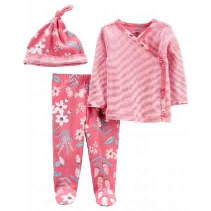 CARTER'S Set 3dielny polodupačky, tričko dl. rukáv zavinovacie, čiapka Pink Flower dievča LBB