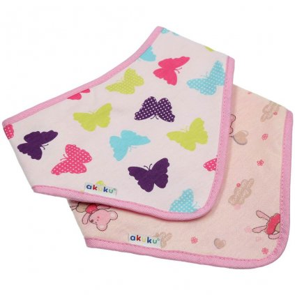 Detský podbradník-šatka Akuku 2 ks motýlik-myška