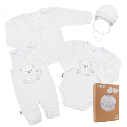Dojčenská súprava do pôrodnice New Baby For Sweet Bear biela